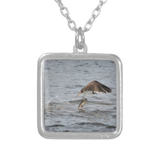 Fishing Osprey & Catch 3 Wildlife Photo Silver Plated Necklace
