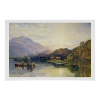 Fishing Party at Loch Achray, with a View of Ben V Poster