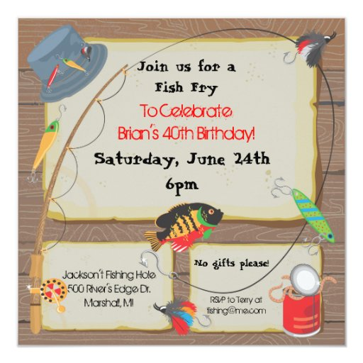 Fishing party invitation zazzle for Fishing birthday party invitations