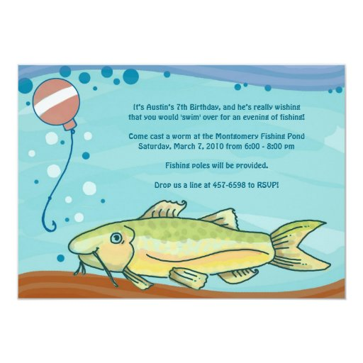 Fishing Party Invitations: Blue