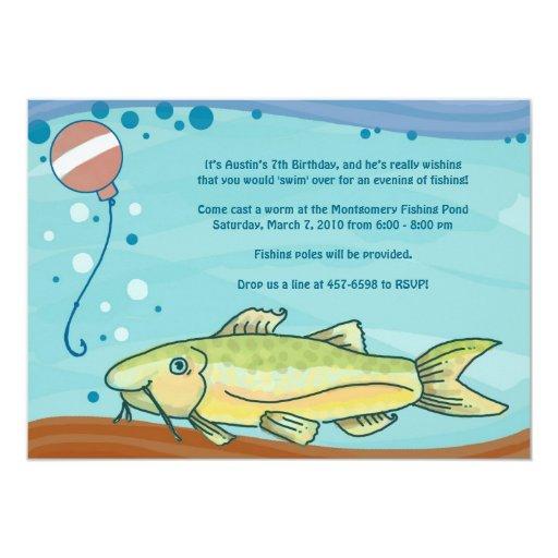 Fishing Party Invitations: Blue 5x7 Paper Invitation Card