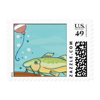 Fishing Party Postage Stamps: Blue