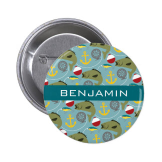 Fishing Pattern with Custom Name 2 Inch Round Button