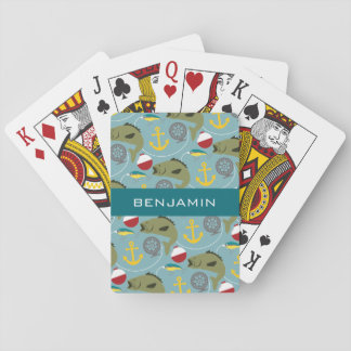 Fishing Pattern with Custom Name Playing Cards