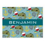 Fishing Pattern with Custom Name Postcard