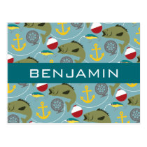 Fishing Pattern with Custom Name Postcard