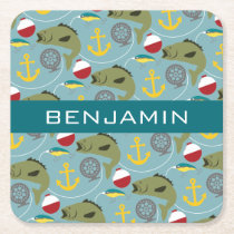 Fishing Pattern with Custom Name Square Paper Coaster