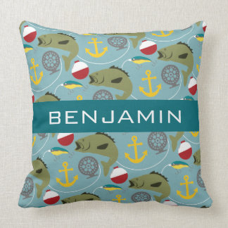 Fishing Pattern with Custom Name Throw Pillow