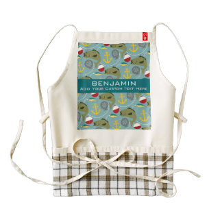 Fishing Pattern with Custom Name Zazzle HEART Apron