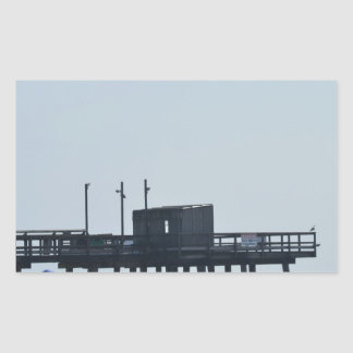 fishing peer rectangular sticker