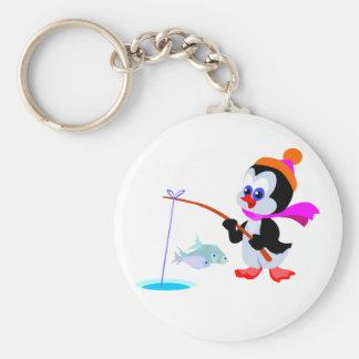 Fishing Penguin Basic Round Button Keychain