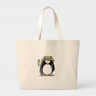 Fishing Penguin Tote Bags