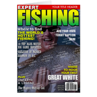 Fishing Personalized Magazine Cover Greeting Cards