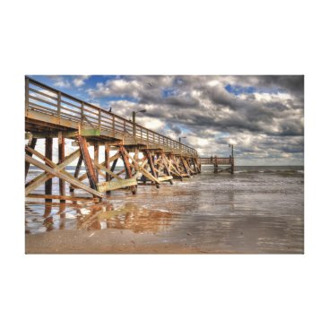 Beach Themed Fishing Pier. Canvas Print