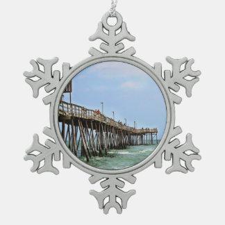 Fishing Pier Snowflake Pewter Christmas Ornament