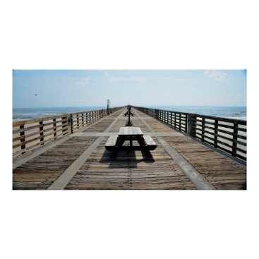 Beach Themed Fishing Pier Poster