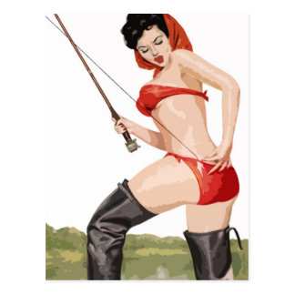 Fishing pin-up vintage poster postcard
