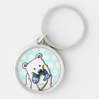 Fishing Polar Bear Silver-Colored Round Keychain