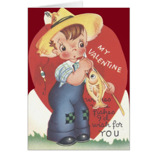 Fishing Pole Fish Country Boy Valentine Card