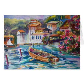 Fishing Port below Portafino IT ~ Watercolor Greeting Card