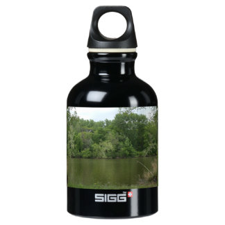Fishing Post resting in front of a Lake Lanscape Aluminum Water Bottle