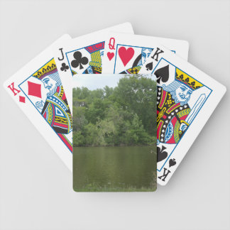 Fishing Post resting in front of a Lake Lanscape Bicycle Playing Cards