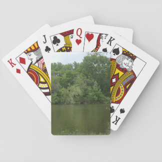 Fishing Post resting in front of a Lake Lanscape Playing Cards