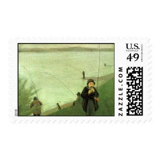 Fishing Postage Stamp