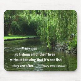 Fishing quote by H.D. Thoreau Mouse Pad