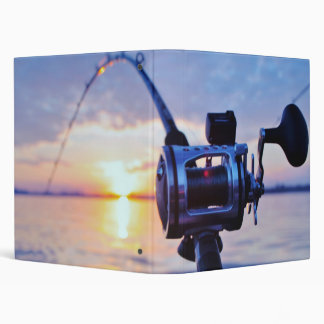 Fishing Reel at Sunset 3 Ring Binder