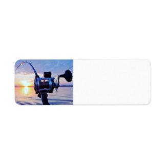 Fishing Reel at Sunset Custom Return Address Label