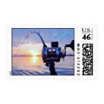 Fishing Reel at Sunset Postage Stamp