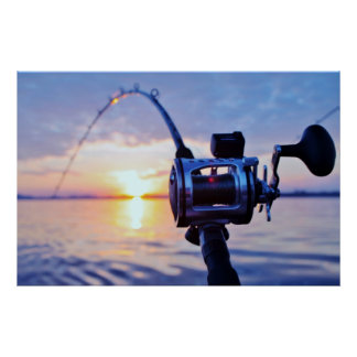 Fishing Reel at Sunset Posters