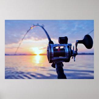 Fishing Reel at Sunset Poster
