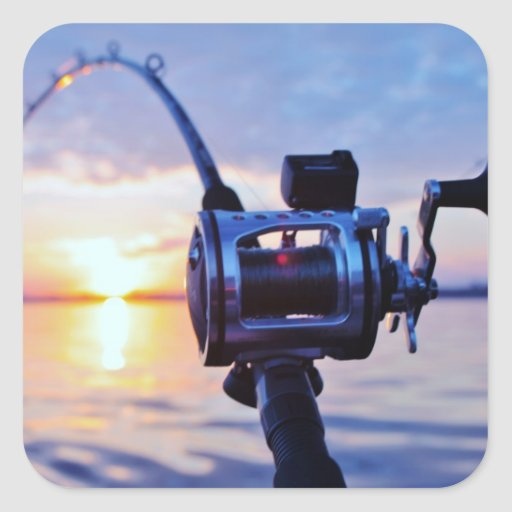 Fishing Reel at Sunset Square Sticker