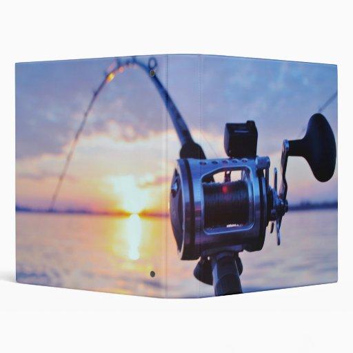 Fishing Reel at Sunset Vinyl Binder