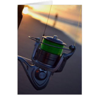 Fishing Reel Cast in the Surf Note Card