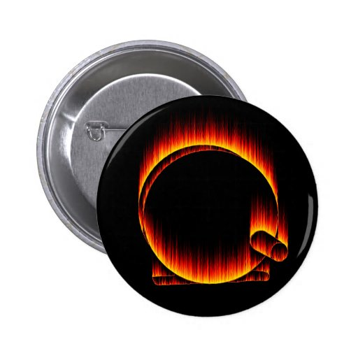 Fishing Reel on Fire 2 Inch Round Button