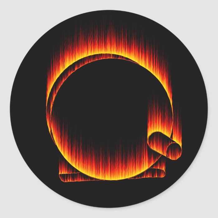 Fishing Reel on Fire Classic Round Sticker