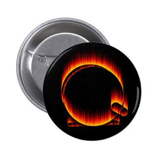 Fishing Reel on Fire Pinback Button
