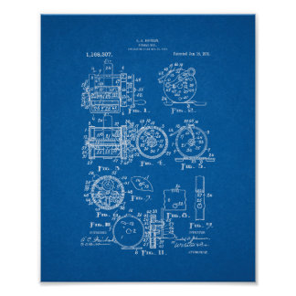 Fishing-reel Patent - Blueprint Posters