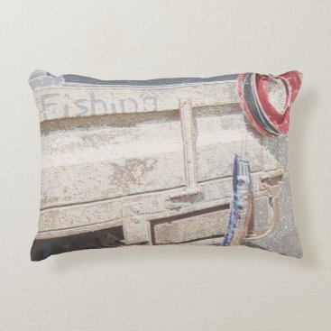 Beach Themed Fishing reel red grey silver beach ute accent pillow