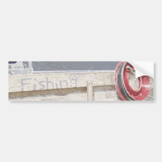 Fishing reel red grey silver beach ute bumper sticker