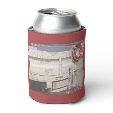 Beach Themed Fishing reel red grey silver beach ute can cooler