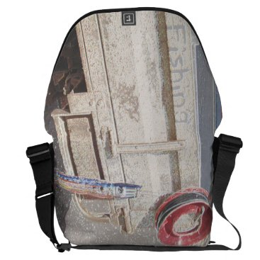 Beach Themed Fishing reel red grey silver beach ute courier bag