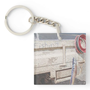 Beach Themed Fishing reel red grey silver beach ute keychain