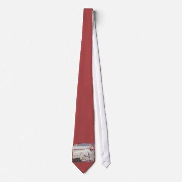 Beach Themed Fishing reel red grey silver beach ute neck tie