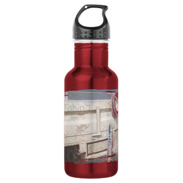 Beach Themed Fishing reel red grey silver beach ute stainless steel water bottle