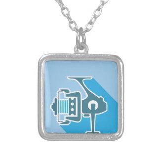 Fishing reel square pendant necklace