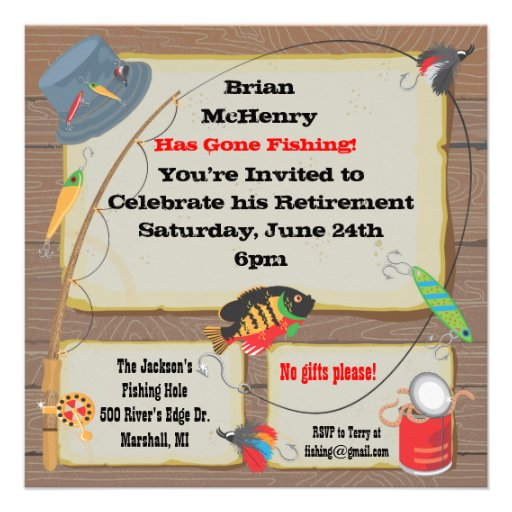 Fishing retirement party invitation square for Fishing birthday party invitations
